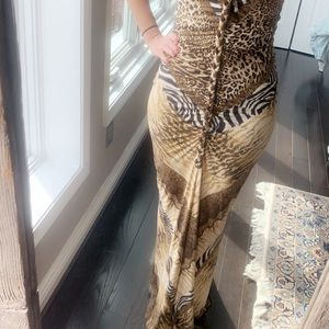 Animal print maxi formal gown dress by Marciano S